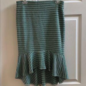 Green High/Low Ruffle Midi Skirt